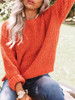 BrytCouture Casual O Neck Loose Orange Sweater