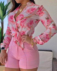 BrytCouture Sweet Floral Print Patchwork Pink Blouse