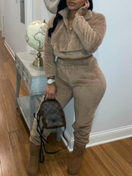 BrytCouture Casual Turndown Collar Zipper Design Brown Two Piece Pants Set