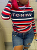 BrytCouture Casual Letter Print Striped Patchwork Black T-shirt