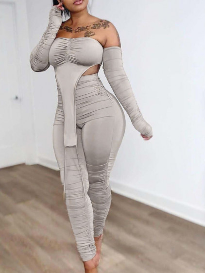 BrytCouture Sweet Off The Sghoulder Ruched Asymmetrical Beige Two Piece Pants Set