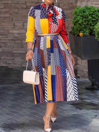 BrytCouture Fashion Print Loose Multicolor Mid Calf Dress