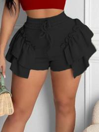 BrytCouture Sweet Flounce Design Drawstring Black Shorts