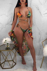 BrytCouture Sexy Lace-up Floral Printed Green Polyester Two-piece Swimwears(With Cover-ups)