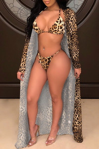 BrytCouture Sexy Spaghetti Strap Leopard Two-piece Swimsuit(With Cover-up)