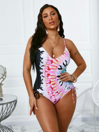 BrytCouture Boho Print Backless Drawstring Multicolor One-piece Swimsuit