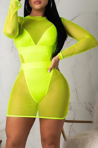 BrytCouture Patchwork Hollow-out Green One-piece Swimsuit(With Cover-up)