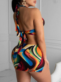 BrytCouture Sexy Backless Print Metal Ring Decoration Multicolor One-piece Swimsuit