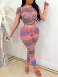 BrytCouture Street Mandarin Collar Money Print Pink Two Piece Pants Set