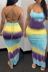 BrytCouture Sexy Tie-dye Backless Multicolor Ankle Length Dress