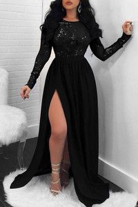 BrytCouture Party Side High Slit Black Trailing Evening Dress(Without Lining)