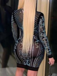 BrytCouture Trendy Deep V Neck Hot Drilling Decorative Black Mini Dress