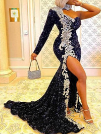BrytCouture Party One Shoulder Sequined Side High Slit Black Trailing Dress