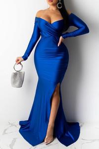 BrytCouture Party V Neck Side Slit Blue Trailing Prom Dress