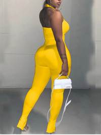 BrytCouture Street Square Neck Basic Skinny Yellow One-piece Jumpsuit