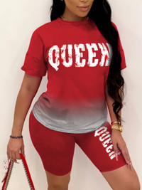 BrytCouture Trendy Gradient Letter Print Red Two Piece Shorts Set