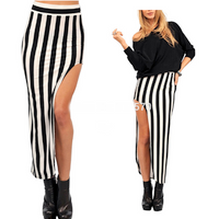 Stripes High Slit, High Waist Long Skirt