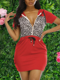 BrytCouture Casual Hooded Collar Leopard Print Red Mini Dress