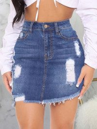 BrytCouture Street Ripped Raw Edge Deep Blue Mini Denim Skirt