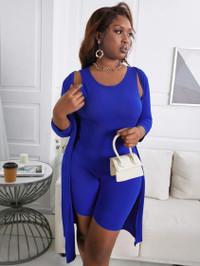 BrytCouture Plus Size Casual Round Neck Basic Skinny Blue Two-piece Shorts Set