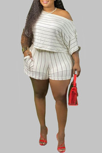 BrytCouture Plus Size Casual Striped White Two-piece Shorts Set