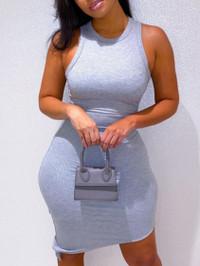 BrytCouture Casual O Neck Basic Skinny Grey Knee Length Dress