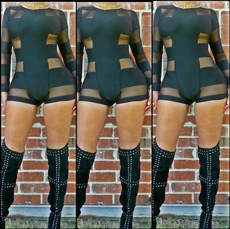 Celebrity Style Mini Bandage Patchwork Mesh Jumpsuit