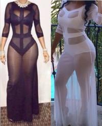 2014 Celebrity Style Maxi Patchwork Mesh Dress