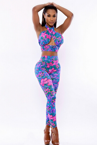 Two Piece High Waist Floral Jumpsuits