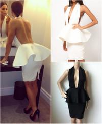 Peplum Halter Backless Mini Dress - White and Black