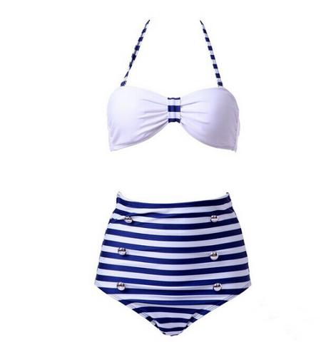High Waist 2 Piece Stripe Swimsuit