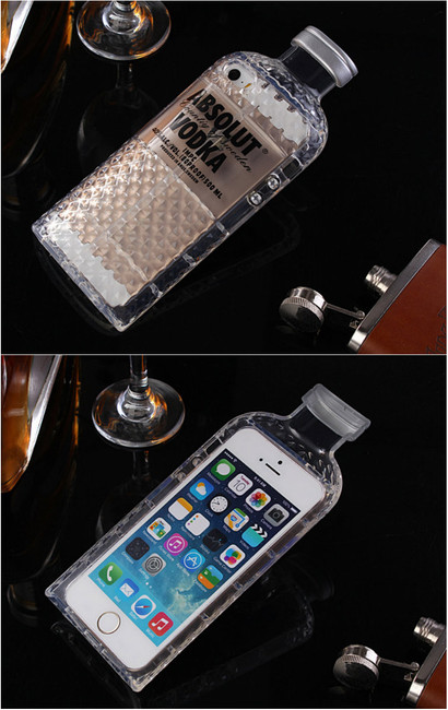 Absolut Vodka Bottle Luxury iPhone Case Black  & Front