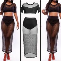 Maxi Stitching Bandage Net Dress