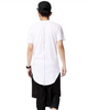 Men Hip Hop Extended Tee Shirt With Zipper White