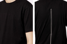 Men Hip Hop Extended Tee Shirt With Zipper black