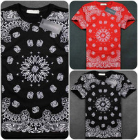 Men Hip Hop Bandana Style Tee Shirts