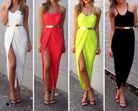 Classic Strap High Slit Dress