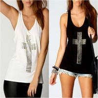 Round Neck Sleeveless Cross Women Vest