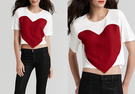 European Style Round Neck Hearts Print T Shirt
