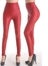 High Waist Faux Leather Leggings Red