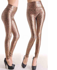 High Waist Faux Leather Leopard Leggings