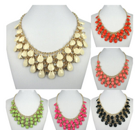Vogue Crystal Drops Stone Gold Plated Colorful Necklace
