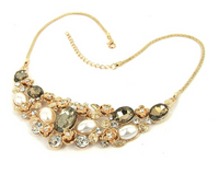 Wedding Style Gold Rhinestone Pearl Statement Necklace