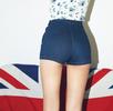 Blue High Waist Denim Short Pants