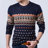 Quilted Pattern Round Neck Men PullOver Sweater
