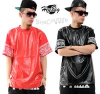 West Coast Hip Hop PU Leather Short Sleeves T-Shirt