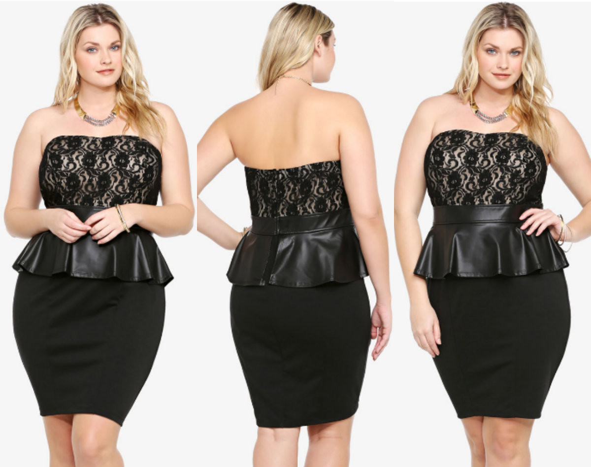 Plus Size Peplum Women Lace Mini Black Dress