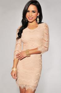 Pink Elegant Lace Three Fourth Sleeves Mini Dress