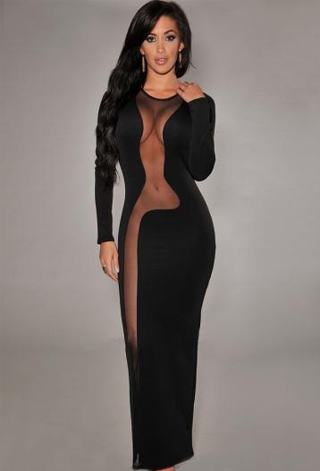Black Daring Mesh Accents Long Sleeves Evening Maxi Dress c63720c11