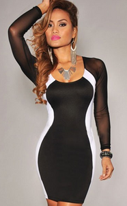 Hourglass Mesh Long Sleeves Bodycon Black-White Dress